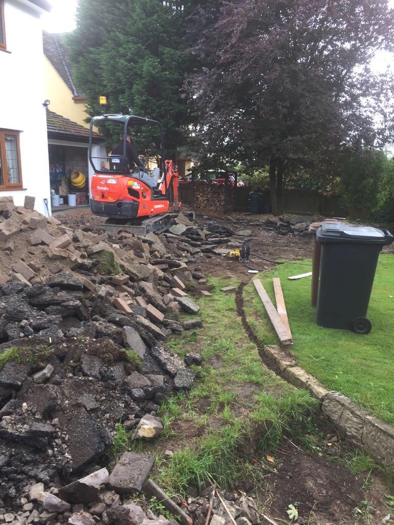 Driveway ground excavation.