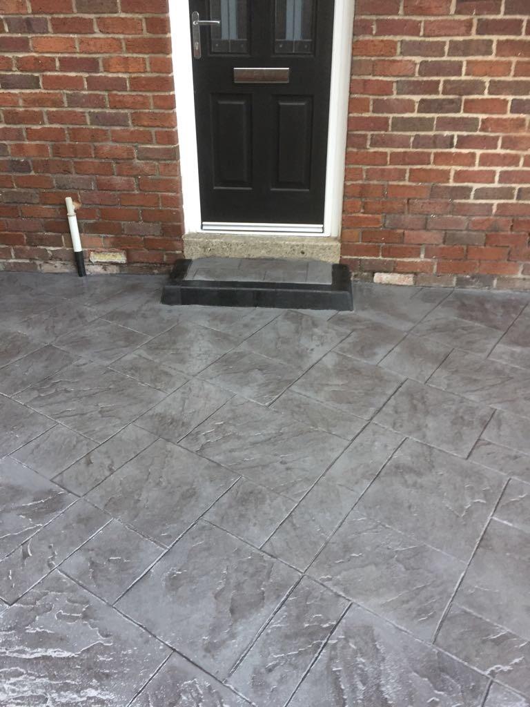 Pattern imprinted concrete driveway- Ellesmere port.