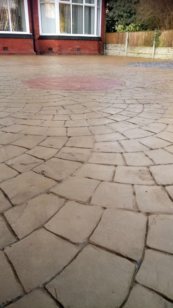 Driveway with printed compass,