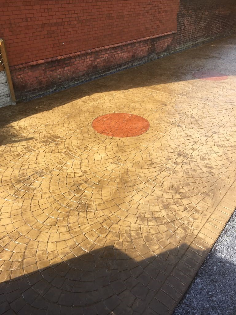Driveway with printed compass.