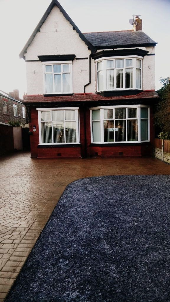 Driveway with printed compass-